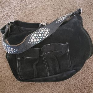 Tylie Malibu black bag with Rhinestone Strap